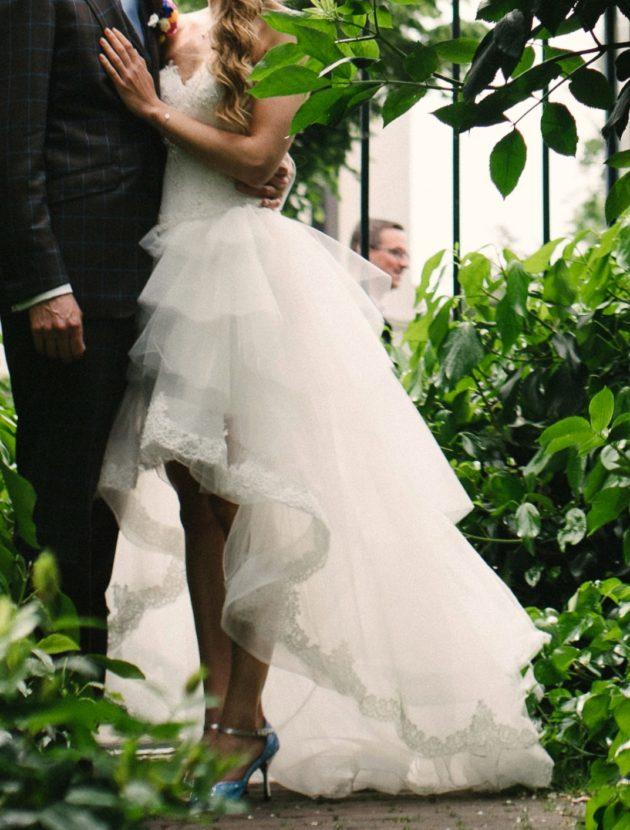 Sweetheart asymmetrische trouwjurk A-lijn met tule