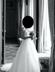 Eglantine Creations Strapless sweetheart ball gown trouwjurk ivoor met kant en sleep mt. 38-40
