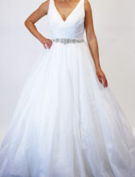 Prinsesssen trouwjurk met glitterriem van Rebecca Ingram maat 40/42