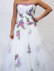 Prinsessen trouwjurk met roze bloemen maat 38/40