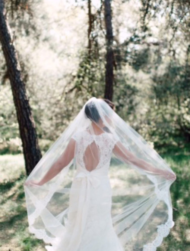 Kanten trouwjurk incl lange sluier