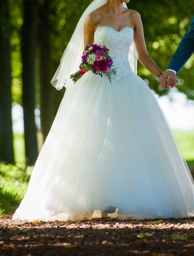 tweedehands prinsessentrouwjurken met tule rok