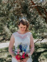 Prachtige kanten bohemian trouwjurk Mercedes by Maggie Sottero
