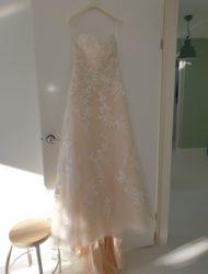 Trouwjurk A-line Enzoani sweetheart zand kleur